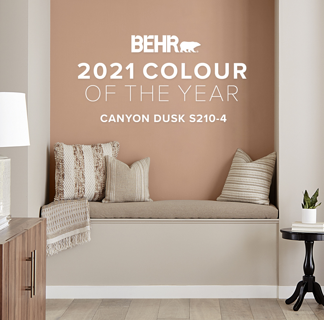 Mobile-sized banner image of reading nook representing the Behr 2021 Color of the Year, Canyon Dusk.