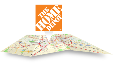 The Home Depot logo pointing to a map